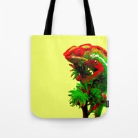 rasta Tote Bags featuring Rasta Chameleon by Gira Patel