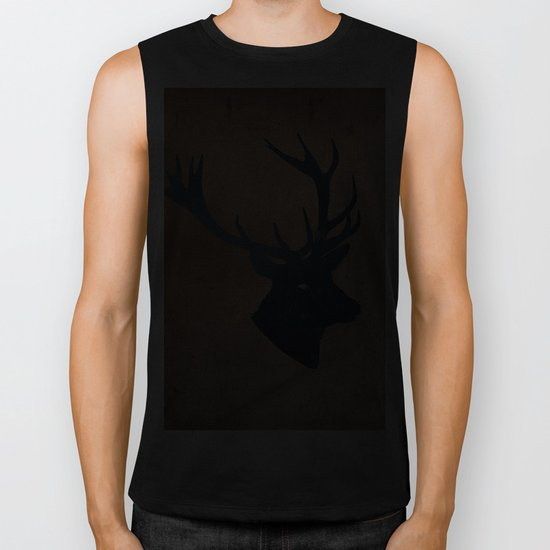 Grunge Deer Stag Simple Illustration for Men Biker Tank