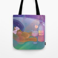 drunk Tote Bags featuring Drunk Cat by Graphic Tabby