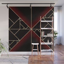 Deco Triangles Red Wall Mural