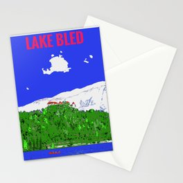 Lake Bled Castle on Cliff Paint on Photo Stationery Cards