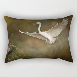 Great White Egret - Landing Rectangular Pillow
