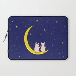 happy pair of pigs in love on the moon Laptop Sleeve