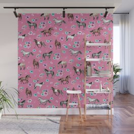 Pink Horse Print, Hand Drawn, Horses and Flowers, Girls Room, Wall Mural