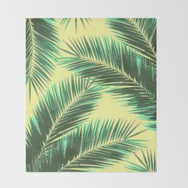 Tropical Palm Leaf Pattern 3 - Tropical Wall Art - Summer Vibes - Modern, Minimal - Green, Beige Throw Blanket