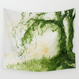 Green Sap Green WaterColour Tree by CheyAnne Sexton Wall Tapestry