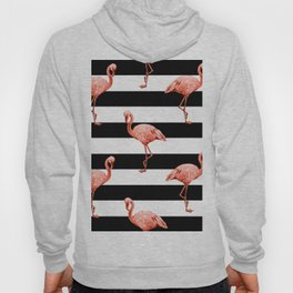 Simply Flamingo Deep Coral on Midnight Black Stripes Hoody