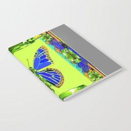 BLUE & GREEN  BUTTERFLY PERIDOT GEMMED GEOMETRIC Notebook