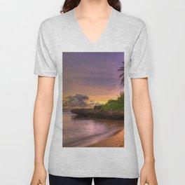 palm trees, coast, tropics, sand, beach, friable, decline, sky, clouds, horizon Unisex V-Neck
