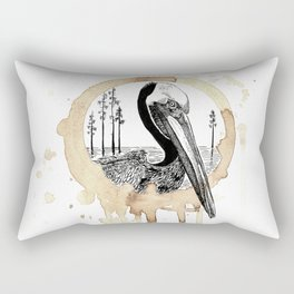 Coffee Stained Brown Pelican-Louisiana Series Rectangular Pillow