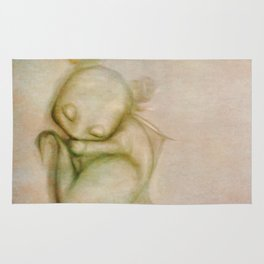 Sleeping Baby Dragon Illustration Rug