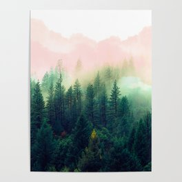 Watercolor mountain landscape Poster