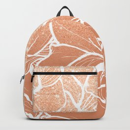 Modern copper tan terracotta glitter ombre color block white floral pattern illustration Backpack