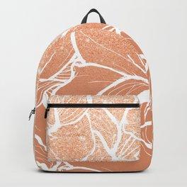 Modern copper tan terracotta glitter ombre color block white floral pattern illustration Backpack