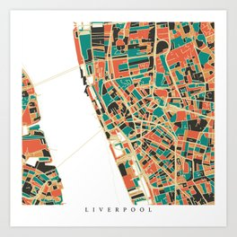 Liverpool City Map - Multicolour Art Print