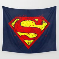 avenger Wall Tapestries featuring Super Man's Splash by Sitchko