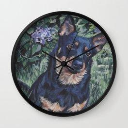 Lancashire Heeler dog art portrait from an original painting by L.A.Shepard Wall Clock