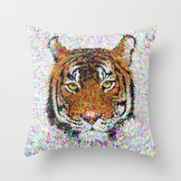 tiger Throw Pillows featuring Tiger by David Zydd