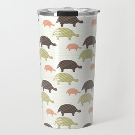 Green Brown and Pink Tortoise Silhouette Seamless Travel Mug
