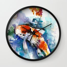 Koi Fish in the Pond - Zen Watercolor Wall Clock