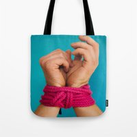 bondage Tote Bags featuring Bondage Heart Hands by Mel Had Tea