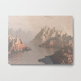 Canyon Landscape With River Metal Print