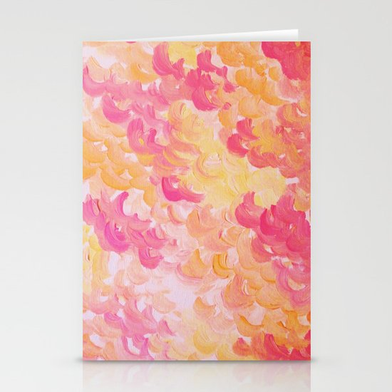 PINK PLUMES - Soft Pastel Wispy Pretty Peach Melon Clouds Strawberry Pink Abstract Acrylic Painting  Stationery Cards
