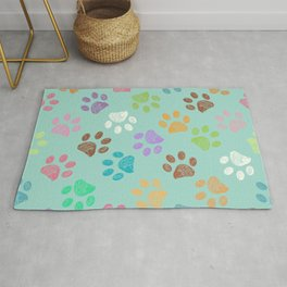 Doodle colorful paw candy colors pattern Rug