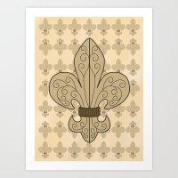 fleur de lis Art Prints featuring Fleur de Lis by eMJay Digital Art