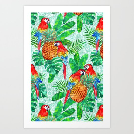 Pineapples and Parrots Tropical Summer Pattern Art Print
