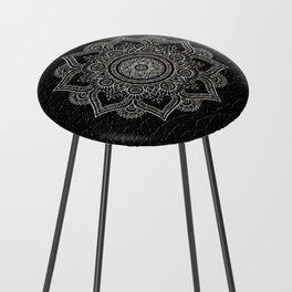 N43 - Moroccan Pure Leather with Silver Moroccan Mandala Artwork by ARTERESTING Counter Stool