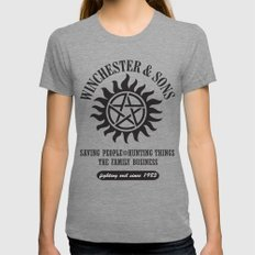 SUPERNATURAL WINCHESTER AND SONS MEDIUM Womens Fitted Tee Tri-Grey