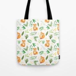 Hand painted cute brown fox watercolor green floral leaves Tote Bag