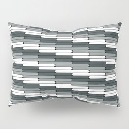 Staggered Oblong Rounded Lines Pattern PPG Night Watch Pewter Green Pillow Sham