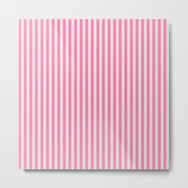Narrow Vertical Stripes (Pink/Grey): classic stripes in pretty colors for a fresh clean look Metal Print