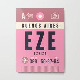 Luggage Tag A - EZE Buenos Aires Ezeiza Argentina Metal Print