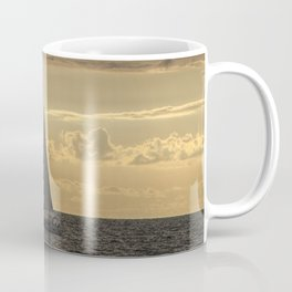 Sailboat Sailing in Lake Michigan beneath Sunbeams Coffee Mug