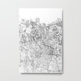 Jakarta White Map Metal Print