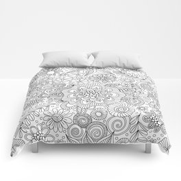 White Doodle Pattern Comforters