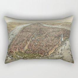 Vintage New York City Map, 1873 Rectangular Pillow