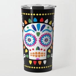 Day of the Dead Black Sugar Skull Travel Mug