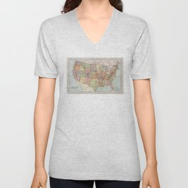 Vintage Map of The United States (1887) Unisex V-Neck