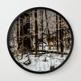 Deer in the Glistening Forest by Teresa Thompson Wall Clock