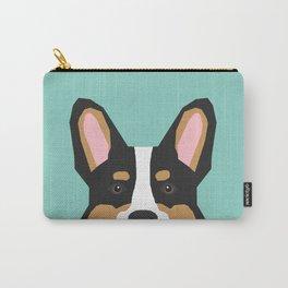 Tricolored Corgi cute corgi dog portrait custom dog art pet friendly dog head cell case Carry-All Pouch