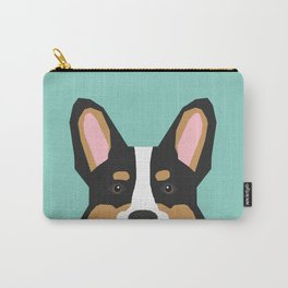 Tricolored Corgi cute corgi dog portrait custom dog art pet friendly dog head cell case Carry-All Pouch