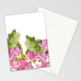 Two big green Frogs in Lotos Field Stationery Cards