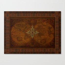 Antique Steampunk Compass Rose & Map Canvas Print