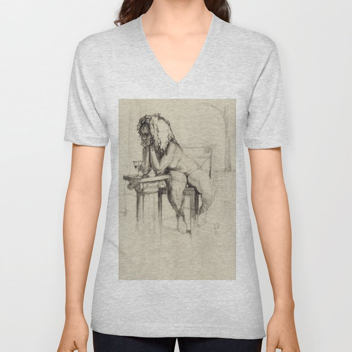 'The Unwinding' Charcoal Drawing Nude woman drinking Wine Unisex V-Neck