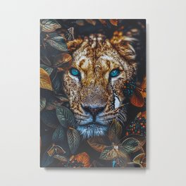 Beautiful Lioness Floral Metal Print
