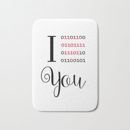 Our love in binary code Bath Mat